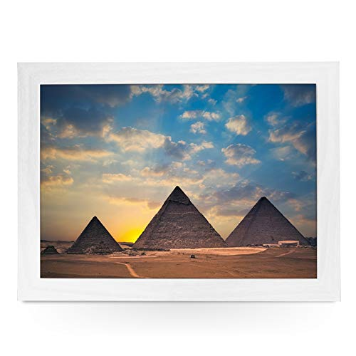 Portable Lap Desk Tray (The Great Pyramids Of Egypt) Handmade Wooden Frame, Beanbag Cushioned Bottom | Computers, Laptops, Meals, Food | L0083 White