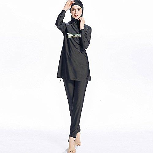 Mr Lin123 S-6XL Frauen Druck Muslimische Bademode Mode Muslimh Islamischer Badeanzug Schwimmen Surf Wear Sport Kleidung Burkini, Schwarz XL