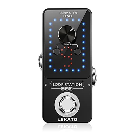 LEKATO Guitar Looper Elektro Loop Pedal 9 Loops Jede Loop Aufnahmezeit 10 Minuten Maximale Aufnahmezeit 40 Minuten Unbegrenzte Overdub Loop Station mit Tuner Funktion für E Gitarren Bass