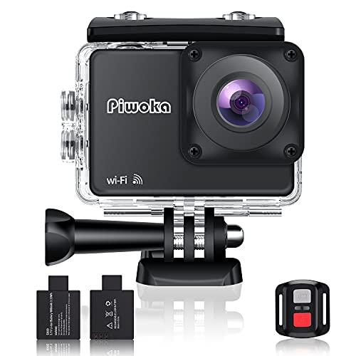 Piwoka 4K Sport-Action-Kamera mit Wi-Fi und Fernbedienung wasserdichte Action-Kamera 30fps Video 20MP Fotos