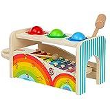 Kinder Holzspielzeug Set mit Klopfbank Spielzeug und Xylophon Musikinstrument Spielzeug
