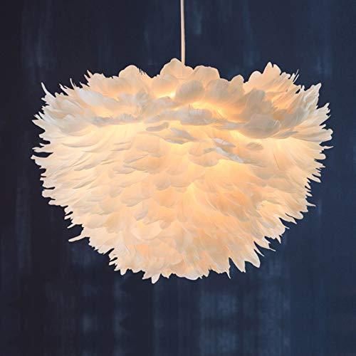 LYEJFF Lámpara de Plumas de Las Luces Colgantes Modernas, lámpara esponjosa Pantalla de Sombra para el hogar lámpara Colgante lámpara de Noche Droplight, E27 White-30cm
