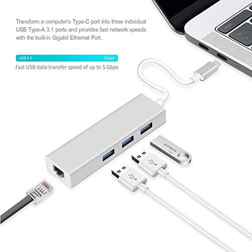 Attino Store Type -C to 3-Port USB Hub + RJ45 Adapter - Type-C to Gigabit Ethernet LAN Network+3 USB Ports Converter for MacBook/Pro/iMac/ChromeBook/Pixel Type-C Devices ((Type-C to RJ45)