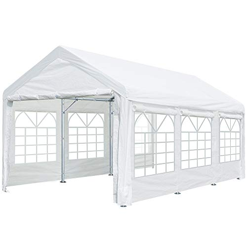 ADVANCE OUTDOOR 20x10 ft Heavy Duty Carport Canopy Car Port Garage Shelter Boat Party Tent, Adjustable Height from 6.5ft to 8.0ft, Removable Window Sidewalls and Doors, White