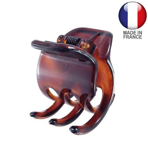 243-003 – Pince pour cheveux français, 3,5 cm, couleur tortue – Pince pour cheveux