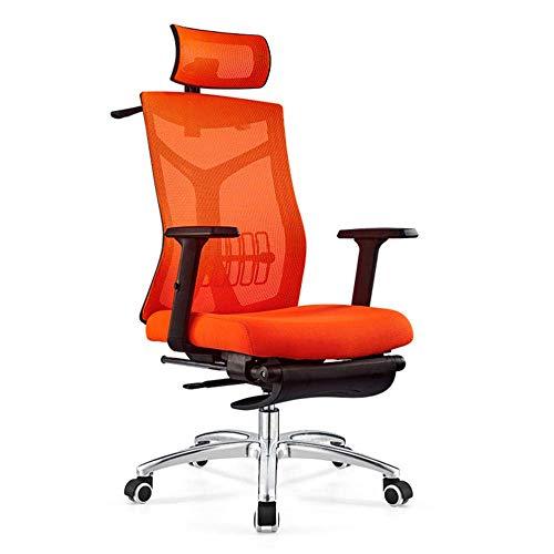 Silla de oficina ajustable, silla de oficina, silla de escritorio, reposabrazos, ergonómica, compacta con bloqueo de 120°, rotación de 360°, superficie de asiento de elevación naranja con reposapiés