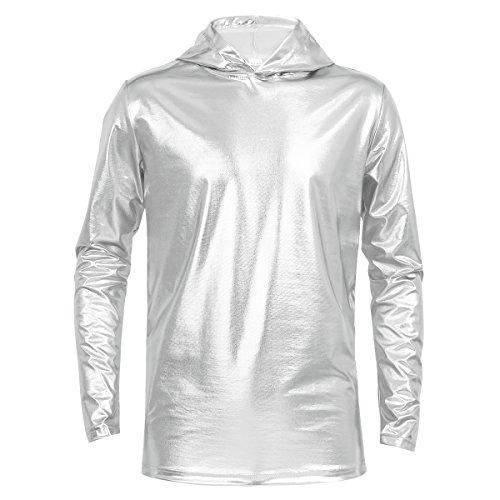 CHICTRY Herren Kapuzenpullver Hoodie Wet Look Freizeit Hemden Slim Langarm Shirts Tops Metallic Muskleshirt Clubwear M-XXL Silber X-Large