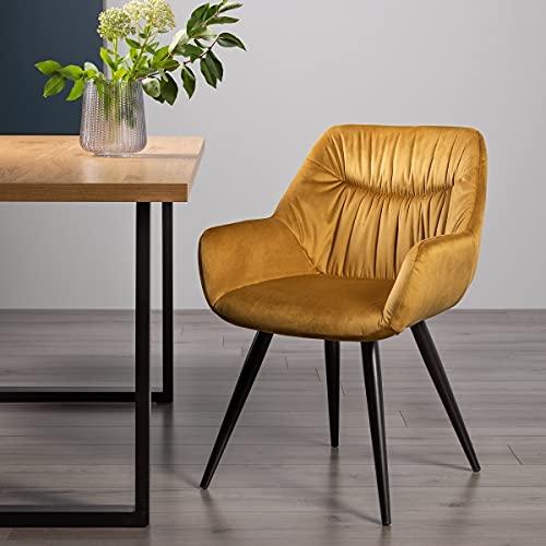 Home Origins Dali - Par de sillas de tela de terciopelo mostaza con patas recubiertas de polvo negro arena