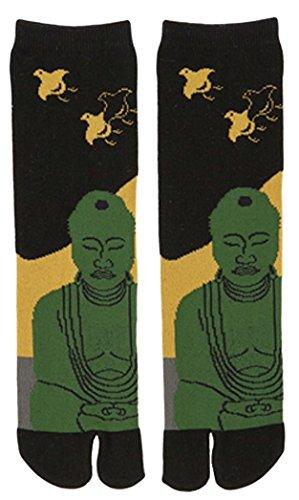 NOREN Flip Flop Tabi Socks|Japanese Samurai Ninja Socks | Two Toe Split Tube Socks | Design Buddha Black(1-Pair)