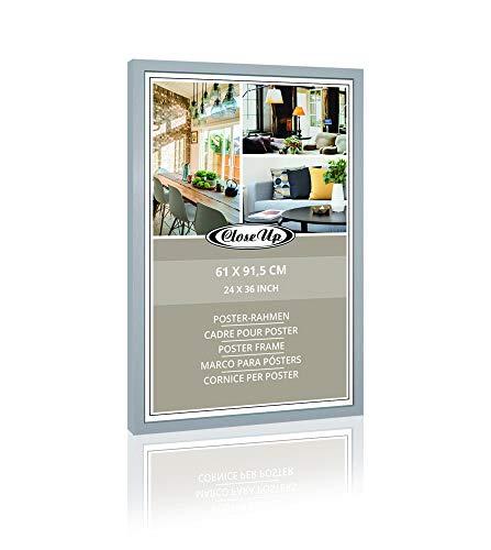 Close Up Holzdekor Bilderrahmen, Posterrahmen | Frame | 61 x 91,5 cm, Silber | für Großformatige Maxi Poster, Acrylglas