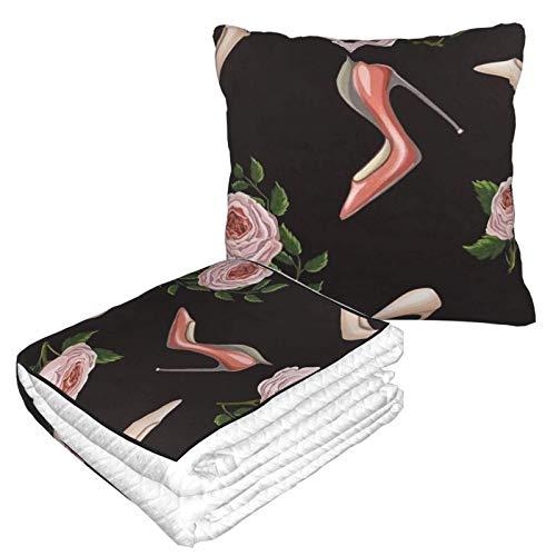Manta de franela cálida con cremallera de alta calidad, suave 2 en 1, manta de avión cómoda y portátil, para sofá, dormitorio, coche