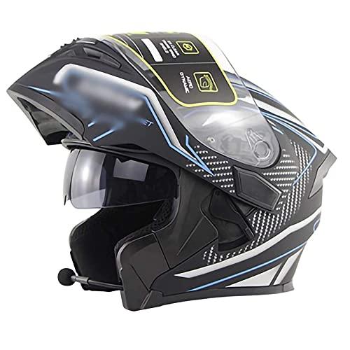 JLLXXG Casco de motocicleta integrado Bluetooth,Con visera dual anti-empañamiento,Casco de cara completa para adultos,Con auriculares Bluetooth,Radio FM