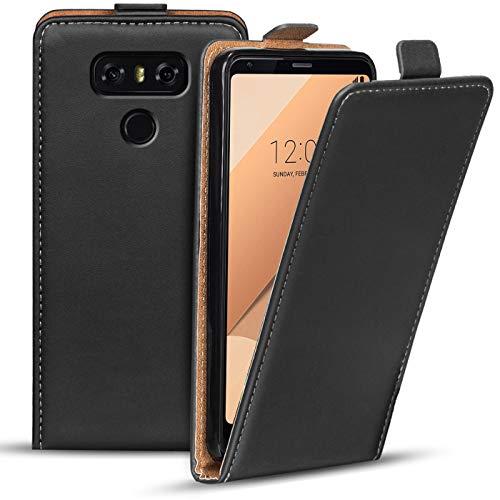 Verco Flip Cover für LG G6 Hülle, Flipstyle Schutzhülle für LG G6 Hülle Kunstleder Tasche vertikal klappbare Handyhülle, Schwarz