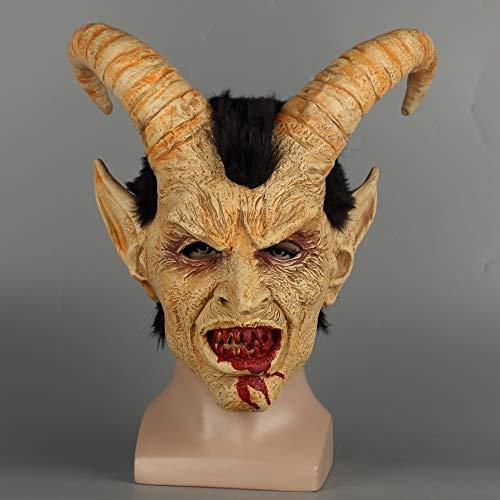 Maschera spaventosa demone diavolo Lucifer corno lattice maschere Halloween film cosplay decorazione festival party forniture puntelli adulti orribili