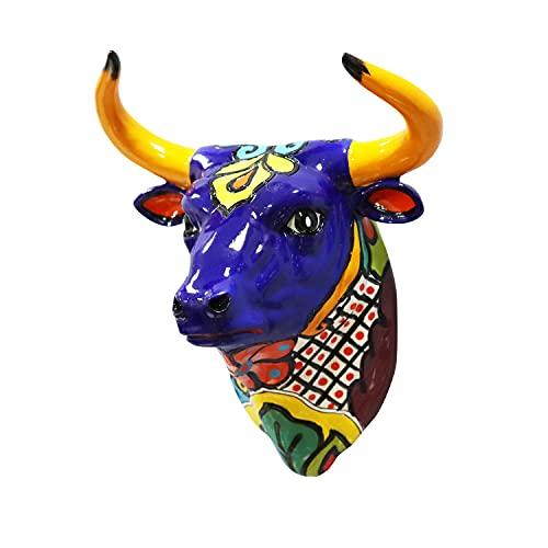 Liffy Bullhead decoración de pared manualidades de animales adornos de resina decoración de Halloween para sala de estar, dormitorio, jardín
