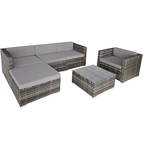 TecTake 800806 Hochwertige Luxus Polyrattan Sitzgruppe Lounge Set für Garten und Terrasse, inkl. Sitz- und Rückenkissen, Gartenmöbel Set mit Sofa, Sessel und Tisch (Grau)