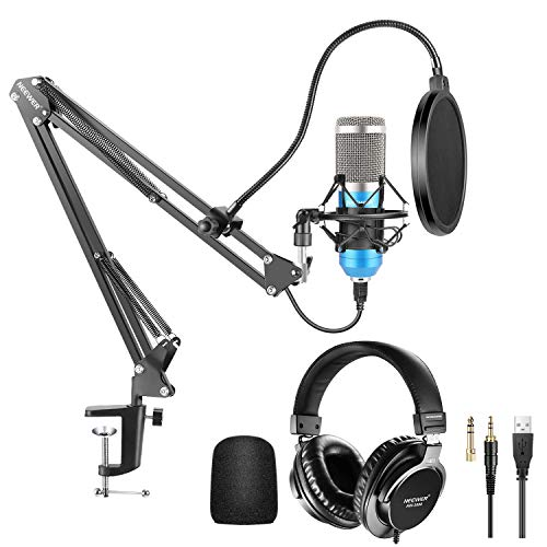 Neewer USB Microphone Kit 192KHz/24Bit Plug&Play Cardioid Condenser Mic (Blue) with Monitor Headphones, Foam Cap, Arm Stand and Shock Mount for Karaoke/YouTube/Gaming Record/Podcasts/Singing etc