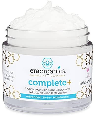Era Organics Moisturizer Cream - Natural Face Moisturizer For Women & Men to Nourish & Hydrate Dry Sensitive Skin- Soothing Manuka Honey, Anti Aging Hyaluronic Acid, Firming Peptide Ceramide Cream 2oz