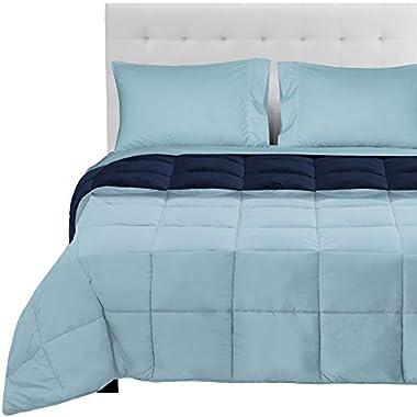 5-Piece Reversible Bed-in-A-Bag - Queen (Comforter: Dark Blue/Light Blue, Sheet Set: Light Blue)