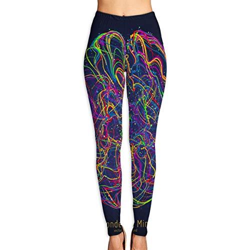 Frankv Pantalones de yoga para mujer, ilustración colorida del vector del cerebro humano con sinapsis pantalones de entrenamiento de cintura alta M
