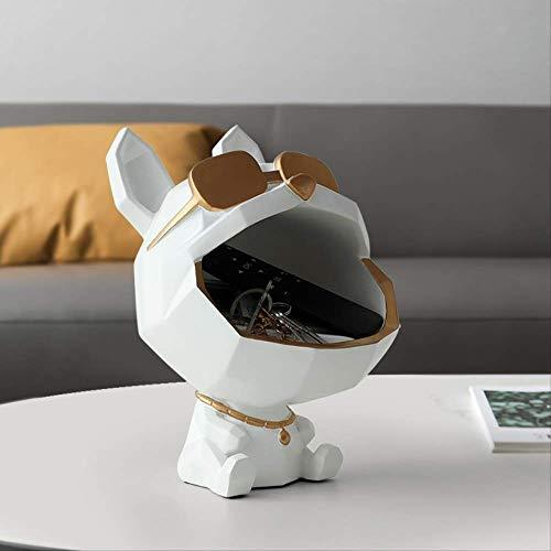 LISAQ Caja de Almacenamiento de Figuras Decorativas de Perro de Boca Grande de Resina,  Escultura de decoración del hogar,  Accesorio de Arte Moderno para Sala de Estar