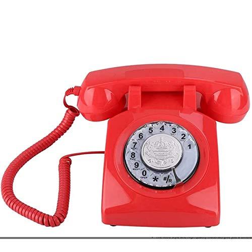 ZHAOH Línea Fija Retro Teléfono Vintage con dial rotatorio, Montaje en la Pared/de Escritorio 1970s-estilo Retro teléfono Fijo teléfono Vintage para Oficina en casa Teléfono Decorativo (Color : Red)