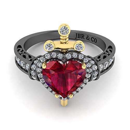 Jbr - Anillo de plata de ley de dos tonos con rubí sintético con corte de corazón para mujer, novia, esposa, compromiso, boda, aniversario, promesa o cumpleaños, con caja de joyería