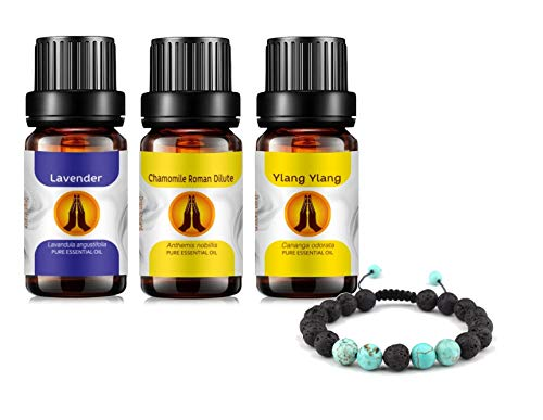 Lava Stone Aromatherapy Diffuser Bracelet and Sleep Essential Oils Set - Pure Lavender, Ylang Ylang & Chamomile (Dilute) Oil 10ml