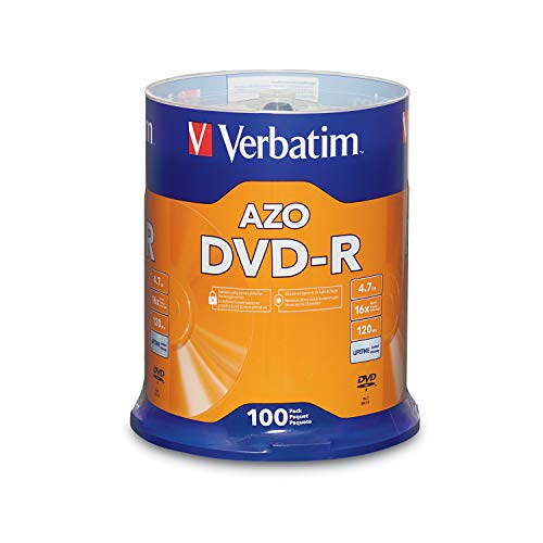 Verbatim DVD-R Blank Discs AZO Dye 4.7GB 16X Recordable Disc - 100 Pack Spindle Frustration Free Packaging
