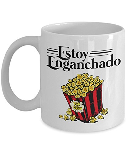 Vintage Estoy Enganchado Popcorn Mexican Style Coffee & Tea Gift Mug Stuff for Spanish Speaking Hispanic Men & Women Popcorn Lovers