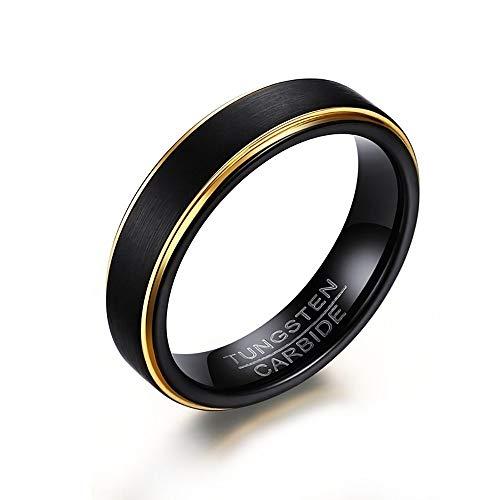 BOBIJOO Jewelry - Alliance Ring voor Man Vrouw Zwart Wolfraam Mat Goud Vergulde 5 mm Garantie 10 jaar