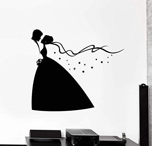 RTYUIHN Personalidad novia y novio mural de la boda pegatinas de pared de vinilo 3d pegatinas de boutique para el hogar pegatinas de pared del dormitorio 3d calcomanía de oro L63 * 58cm