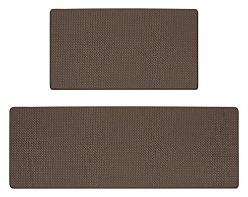 Fußmatte Moderne Küchenmatte Teppich for Boden PVC. wasserdichte Lange Streifen rutschfeste Teppichereingang Fußmat Home Bodendekoration Badezimmer (Color : Brown, Size : 45cmx120cm)