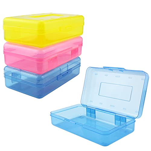 YEXPRESS Colorful Plastic Pencil Boxes, Pack of 3, Translucent Multipurpose Pencil Case, Stationery Organizer Storage Box for School, Pen, Pencil, Crayon and Marker, 3 Color