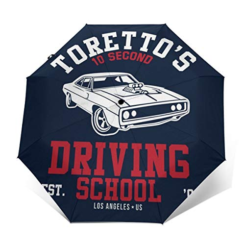 Fast and The Furious Torettos - Paraguas Plegable Compacto para conducción, Resistente al Viento, Apertura y Cierre automático, Plegable