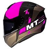 MT HELMETS 11175420835 Casco para Moto, Accesorio Unisex para Adultos, Matt Fluor Pink, M