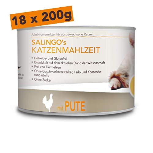 SALiNGO Katzenfutter nass, Pute PUR, getreidefrei (18x200g)
