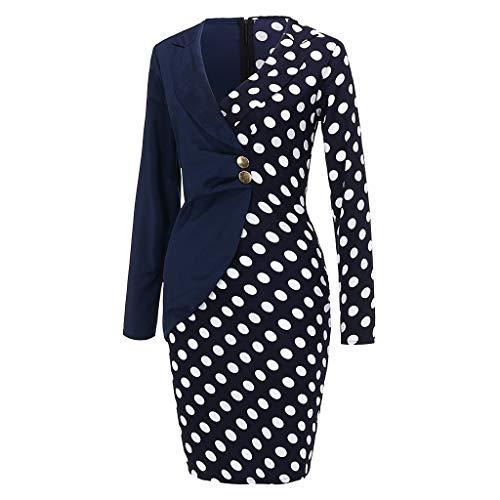 AMhomely - Vestido de mujer de manga larga con botones de lunares y patchwork, talla grande de Reino Unido, tallas S a 4XL Azul azul marino XL