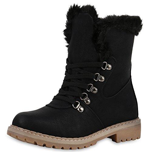 SCARPE VITA Worker Boots Damen Kunstfell Stiefeletten Warm Gefüttert Bequem 144316 Schwarz 38