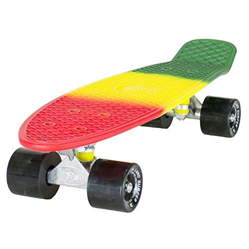 Land Surfer® Retro Cruiser, komplettes Skateboard mit dreifarbig gemustertem - Farbige Achsen 56-cm-Deck - ABEC-7-Kugellager - PU-Räder (59 mm) + Tragetasche - 3-Farbton Rasta/Schwarz Räder