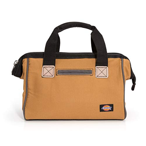 Dickies 12-Inch Durable Canvas Work Bag for Painters, Carpenters, and Builders, Heavy-Duty Zipper, Reinforced Handles, Tan