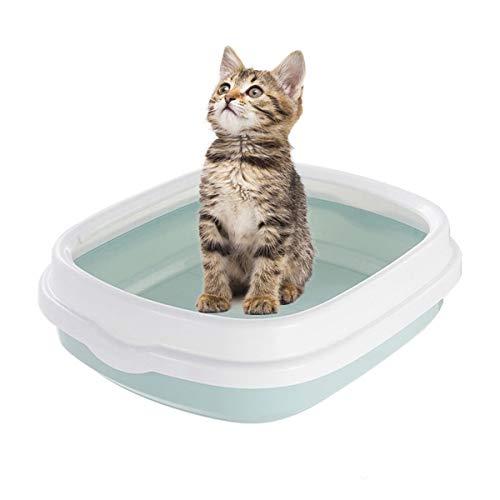Kattenkat kast, kunststof zandbak met Scoop kattentoilet anti-splash kat toilet, 55,5 x 45 x 16,5 cm A
