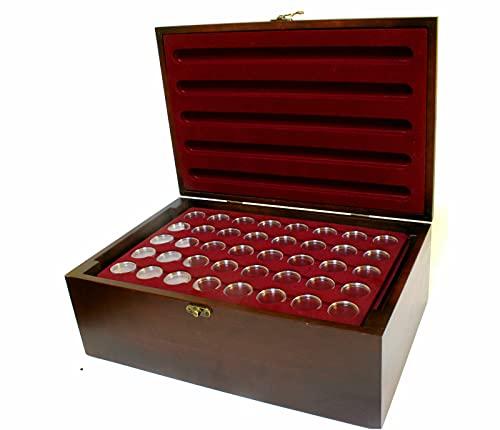 MC.Sammler Caja de monedas de madera con 10 bandejas para monedas para 400 monedas de 2 euros en cápsulas (caja con 400 cápsulas de 26 mm)
