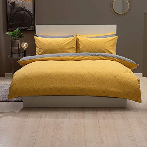 Belledorm, Set Copripiumino Reversibile in Policotone Giallo Zafferano e Grigio Trapezio, King Size Bed 230cm x 220cm