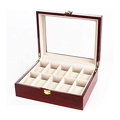 Caja para mudanza Caja de Reloj de Pulsera de la Tapa de Cristal y 10 Caja de Reloj de Madera Red de Caja de Caja de Reloj Organizador Pantalla (Color: Marrón, Tamaño: 26X21.3X8.5CM)
