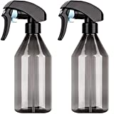 Overmal Spray Bottle, 10oz 300ml Plastic Fine Mist Plant Atomizer Watering Sprayer Bottle for Gardening Cleaning Solution with Top Pump Trigger Water (Black,2pcs)