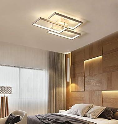 RDYL Nordic Style Living Room LED Ceiling Light,Rectangular Creative Ceiling lamp,Fashion Minimalist Ceiling Light,3000-6500K Acrylic Smart dimming Light,Living Room,Bedroom,Office,Hotel,White,60cm