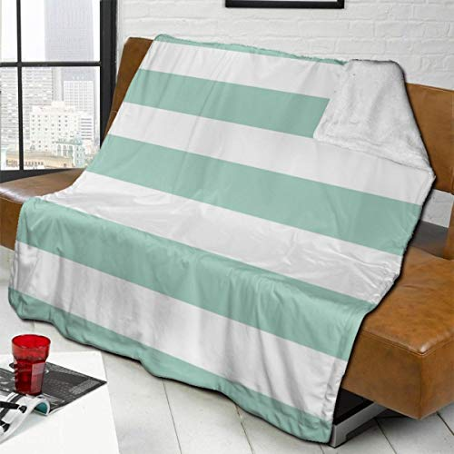 vilico Throw Blanket Fleece Baby Blankets for Boys Girls Kids,Soft Warm Cozy Blanket Fit Couch Bed Sofa,40x50 inches - Preppy Stripes Med Seafoam