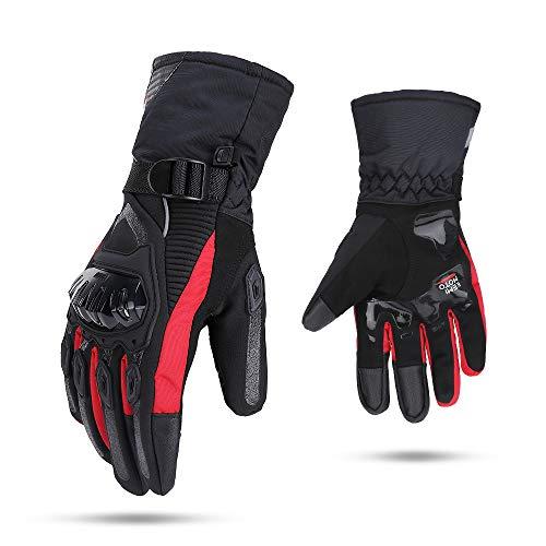 Guantes de moto para invierno, para hombre, antiviento, impermeables, para pantalla táctil L rojo
