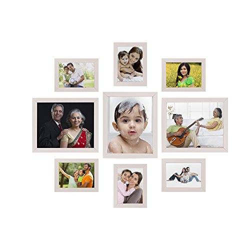 Solimo Collage Photo Frames, Set of 9,wall hanging (6 pcs - 5x7 inch, 3 pcs - 8x10 inch),Cream